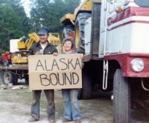 Norman and Sylvia, June 1979 with the Freightliner, Cat, and Swamp Buggy