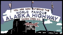 Alaska Highway sign at Dawson Creek