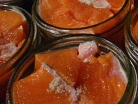 salmon meat in open jars