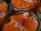 salmon meat in open jars