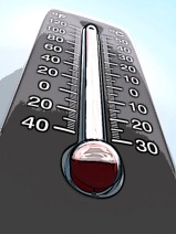 Thermometer showing temp over 40 below zero