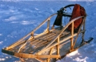 a hand made wooden dog sled